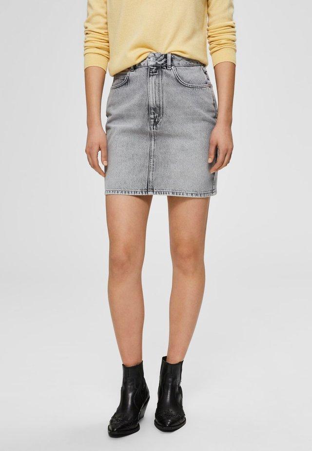 JEANSROCK MINI - Spódnica jeansowa - grey denim