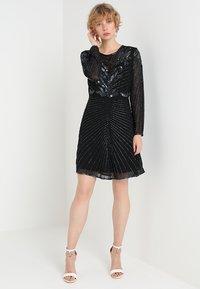 Selected Femme - SLFJUNA BEADED SHORT DRESS - Vestito elegante - black - 1