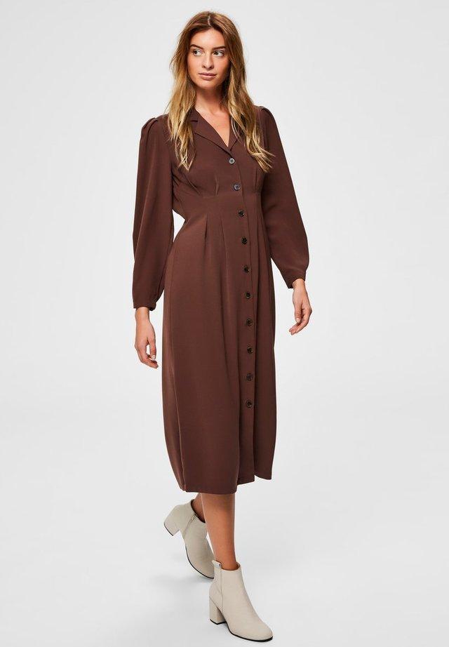 Shirt dress - deep mahogany