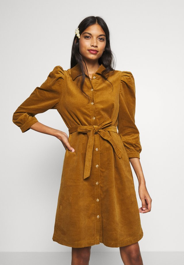 CORDUROY SHORT DRESS  - Skjortekjole - bronze brown