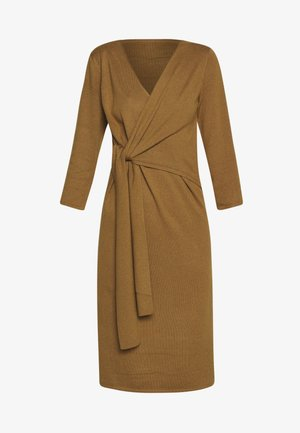 SLFNAYA WRAP TIE DRESS  - Stickad klänning - bronze brown