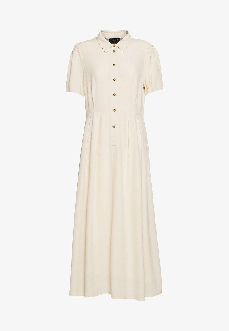 Selected Femme - SLFREBEKKA ORIANA MIDI DRESS - Skjortekjole - sandshell
