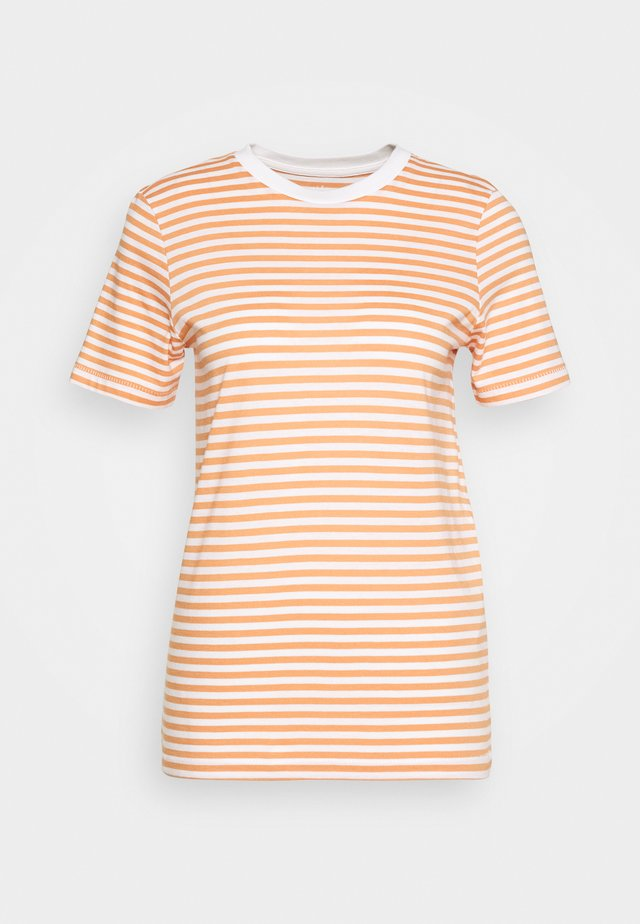 SLFMY PERFECT TEE BOX CUT - Print T-shirt - bright white/caramel
