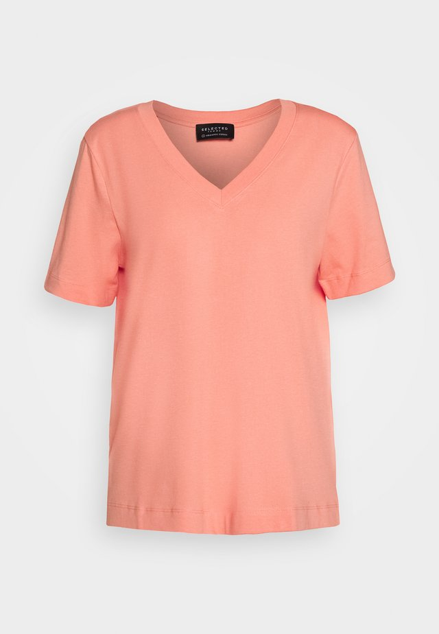 SLFSTANDARD V-NECK TEE SEASONAL - Basic T-shirt - burnt coral