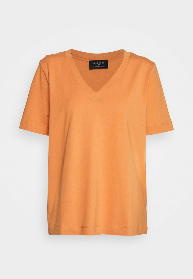 SLFSTANDARD V-NECK TEE SEASONAL - Basic T-shirt - caramel