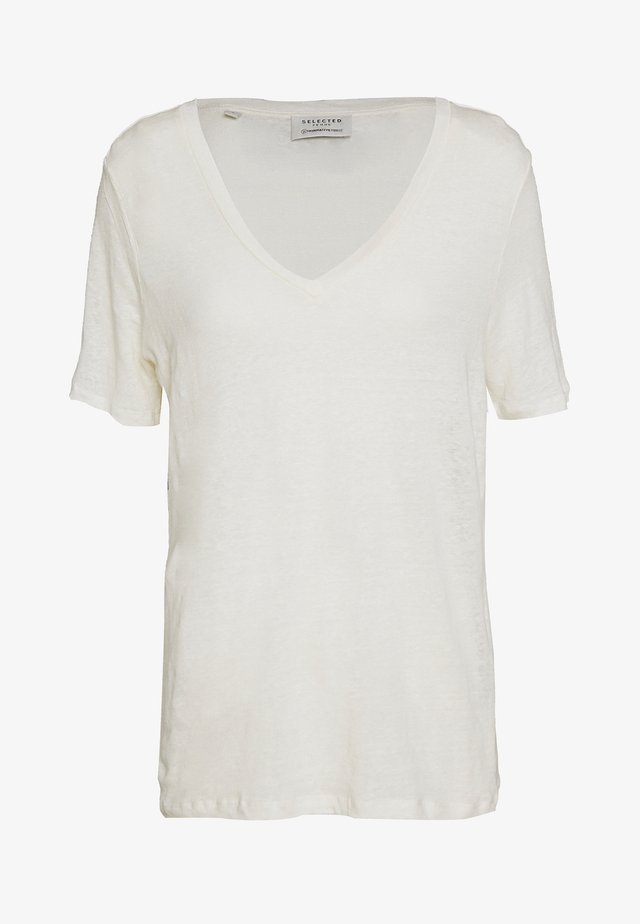 SLFSTANDARD V NECK TEE - T-shirt - bas - snow white