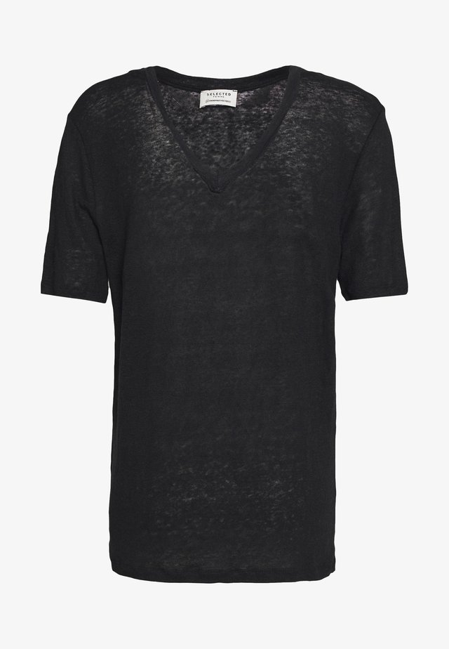 SLFSTANDARD V NECK TEE - Basic T-shirt - black