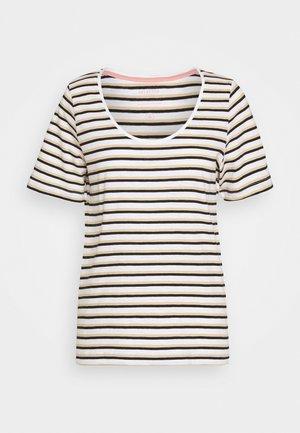 SLFHANNAH STRIPE TEE - T-shirts med print - snow white/black