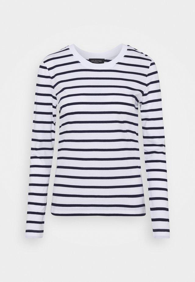 SLFSTANDARD NEW TEE - Bluzka z długim rękawem - maritime blue/bright white