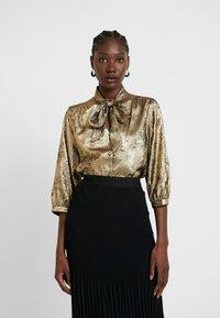Selected Femme - SLFAURELIA 3/4 NECK TIE - Blouse - gold colour - 0