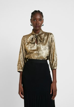 SLFAURELIA 3/4 NECK TIE - Blouse - gold colour