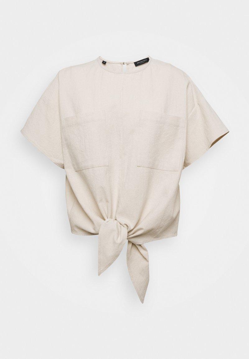 Selected Femme - SLFMIONI TIE - Blusa - sandshell