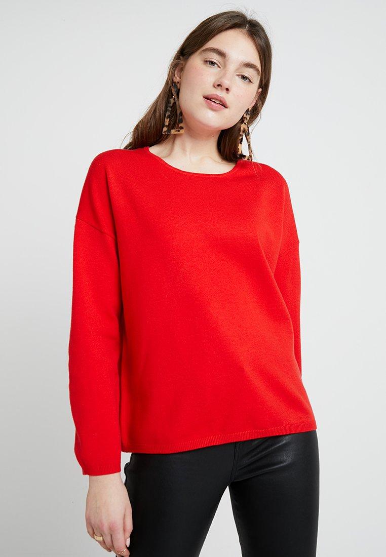 Selected Femme - SLFMINNA O NECK - Neule - poppy red