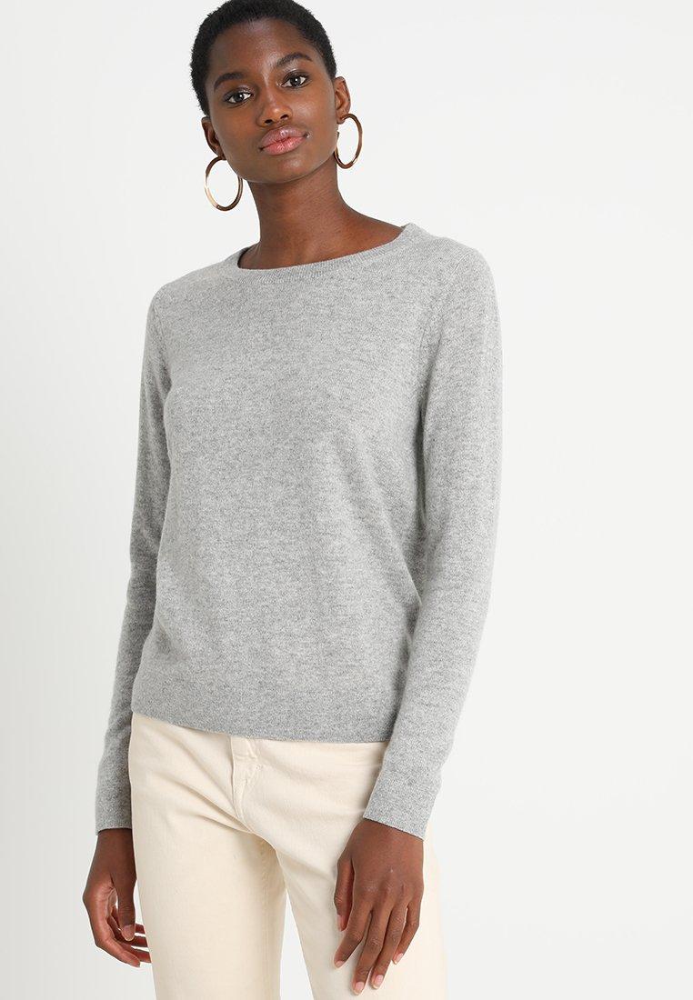 Selected Femme - SLFAYA O NECK - Sweter - light grey melange