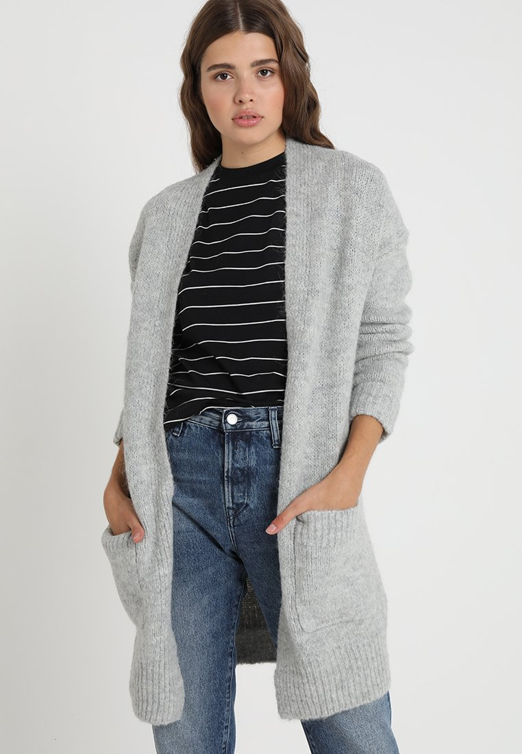 Selected Femme - SLFREGINA CARDIGAN - Strickjacke - light grey melange