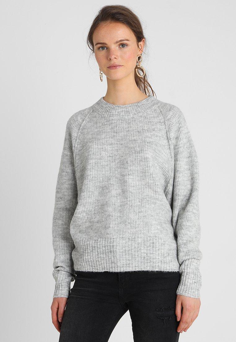 Selected Femme - SLFENA O NECK - Strickpullover - light grey melange