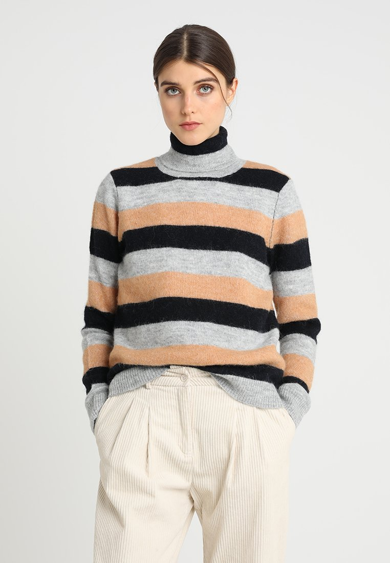 Selected Femme - SLFSIA ROLLNECK - Strickpullover - light grey melange/doe/dark sapphir