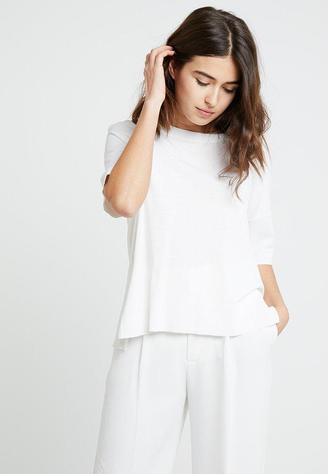SLFWILLE O NECK - T-shirt z nadrukiem - snow white