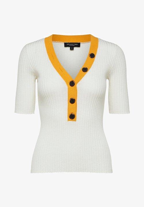 Selected Femme Sweter - white Odzież Damska FRAF-PS9 wylot
