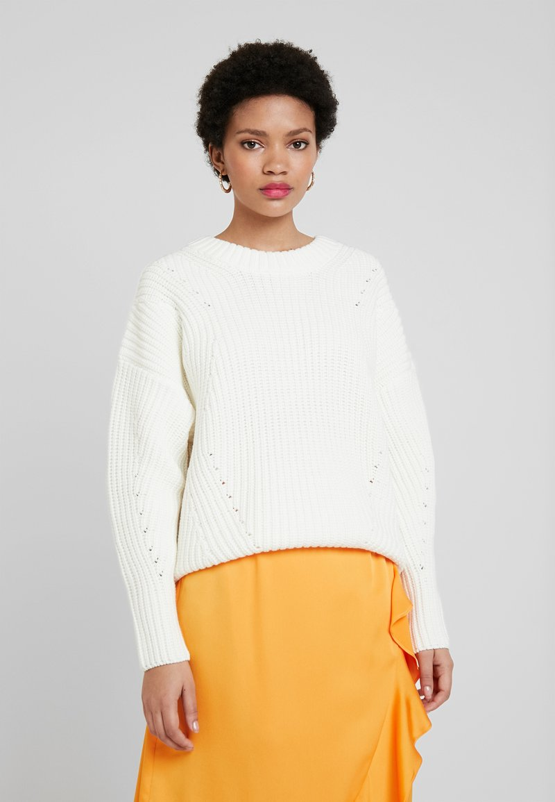 Selected Femme - SLFMIRA KNIT O-NECK - Jersey de punto - snow white