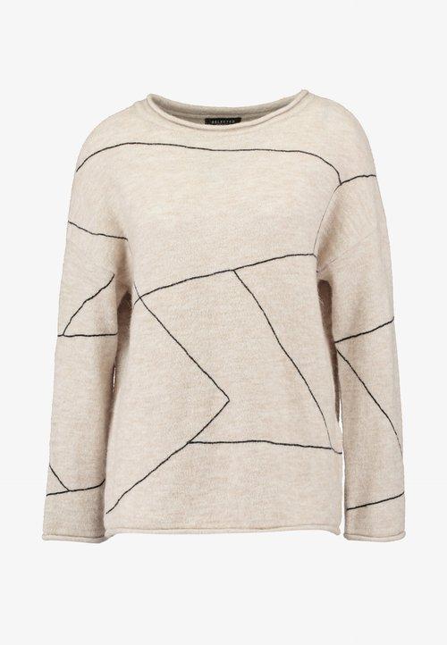 Selected Femme SLFLIN BOATNECK - Sweter - sandshell/black Odzież Damska TSMM-ZV7 nowy