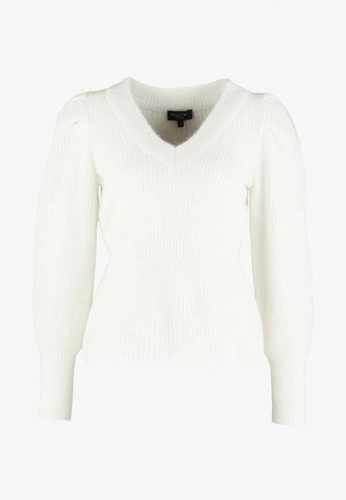 ZMNIEJSZONE O 50% Selected Femme SLFIVA V NECK - Sweter - snow white Odzież Damska ULUV-UC1