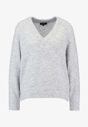 SLFLANNA VNECK - Stickad tröja - light grey melange