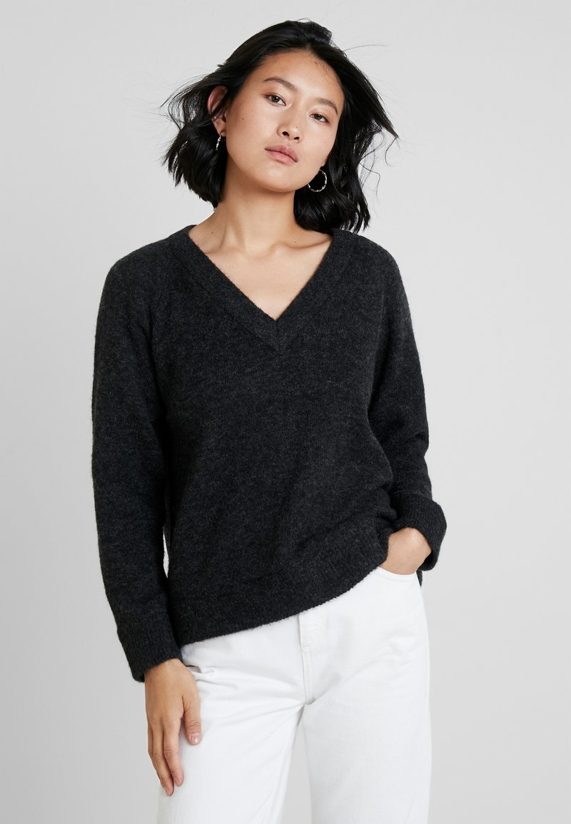 Selected Femme - SLFLANNA VNECK - Jumper - dark grey melange