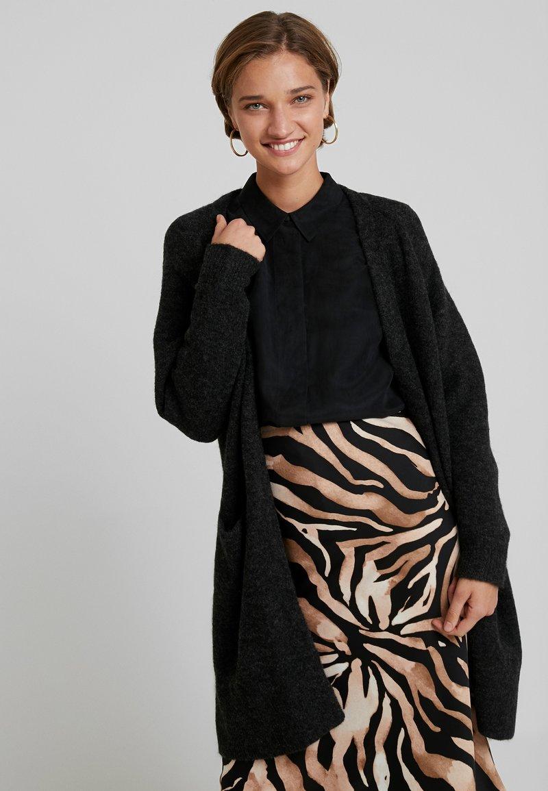 Selected Femme - SLFLANNA CARDIGAN - Cardigan - dark grey melange