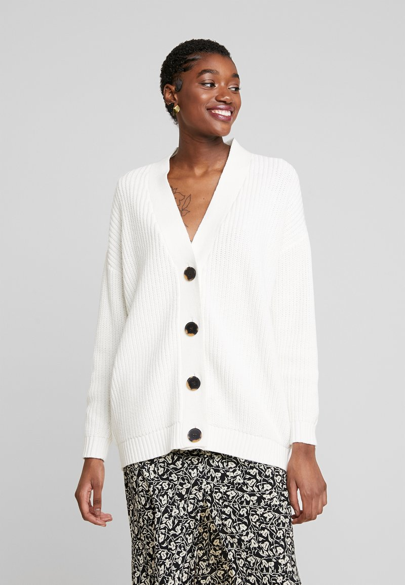 Selected Femme - SLFBAILEY BUTTON CARDIGAN - Kardigan - snow white