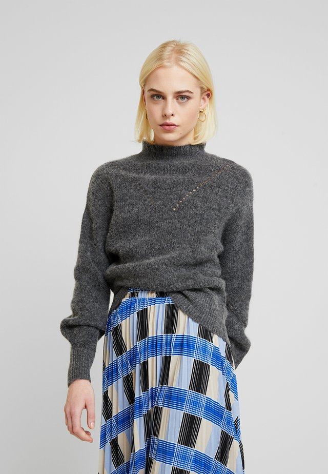 SLFINGA FRILL-NECK - Jersey de punto - medium grey melange