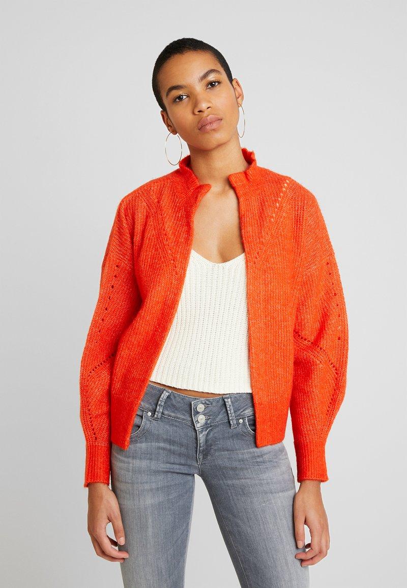 Selected Femme - SLFINGA FRILL CARDIGAN - Kardigan - orange