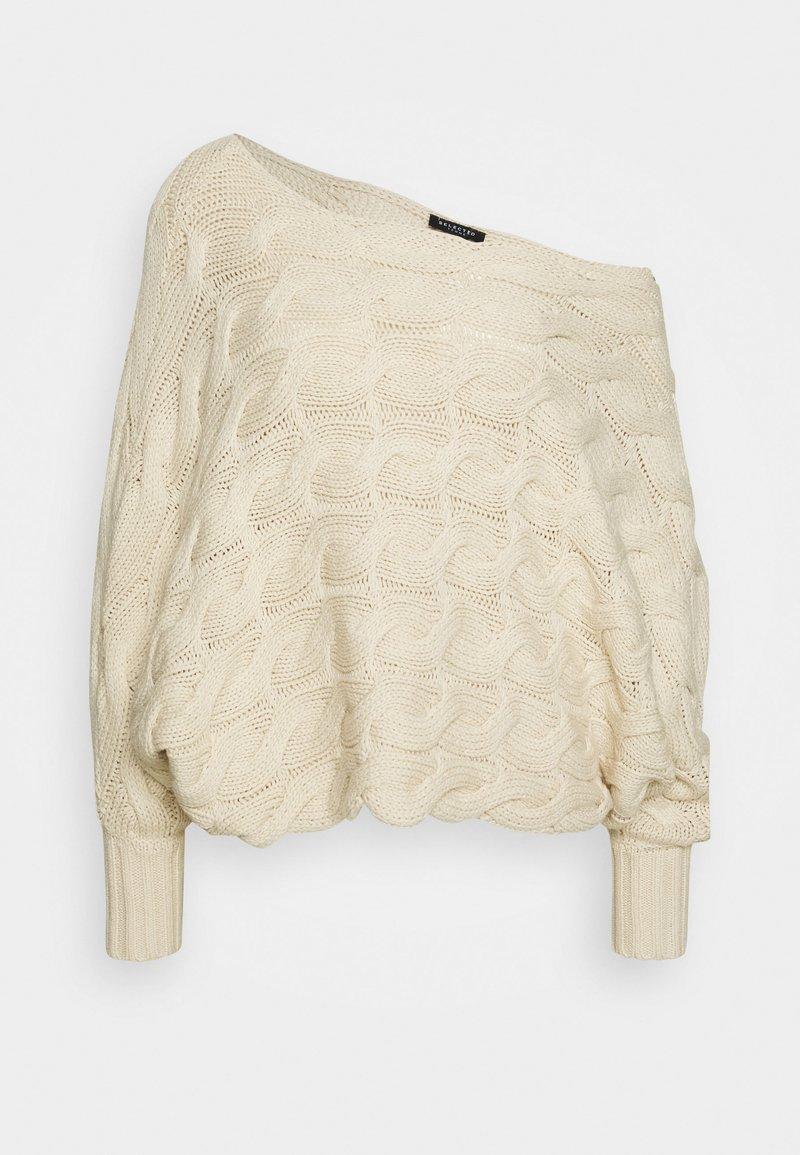 Selected Femme - SLFCARMA CABLE BOATNECK - Maglione - sandshell