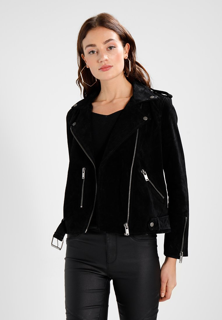 Selected Femme - SFSANELLA JACKET - Leather jacket - black