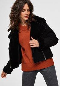 Selected Femme - Leather jacket - black - 3