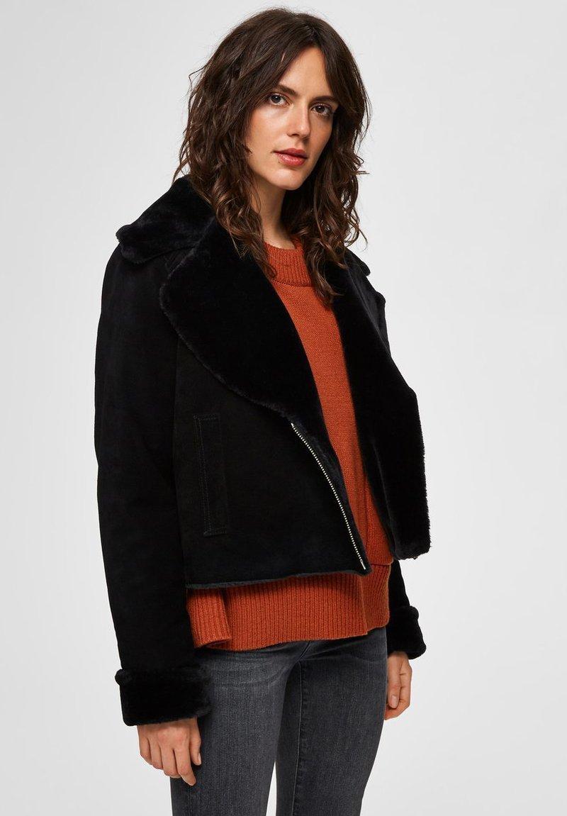 Selected Femme - Leather jacket - black