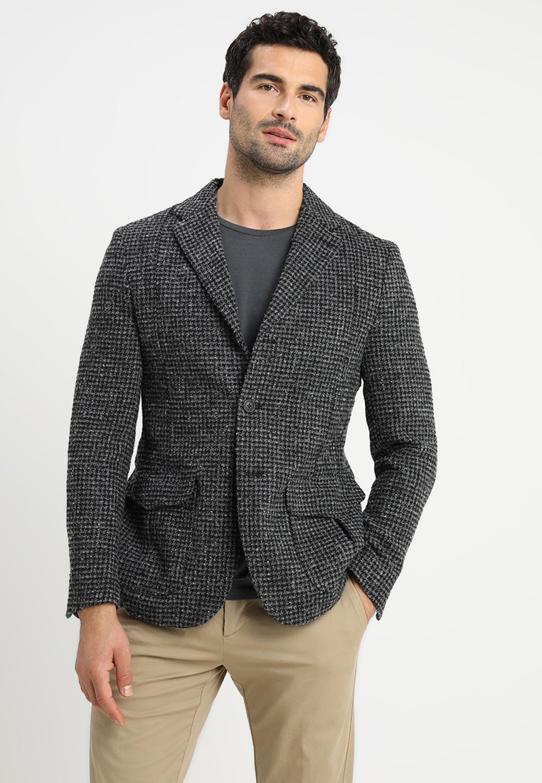 Selected Homme - SLHSLIM GRAYSON HOUNDSTOOTH - Sakko - medium grey melange
