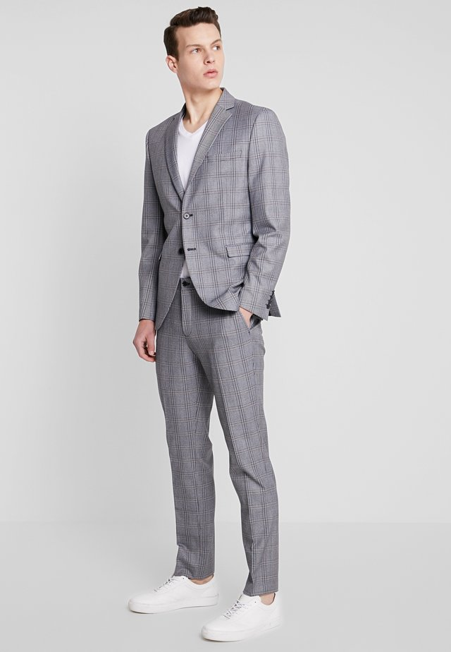 SLHSLIM MYLOBEND CHECK SUIT - Oblek - grey