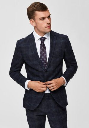 KARIERTER SLIM FIT - Suit jacket - navy blue
