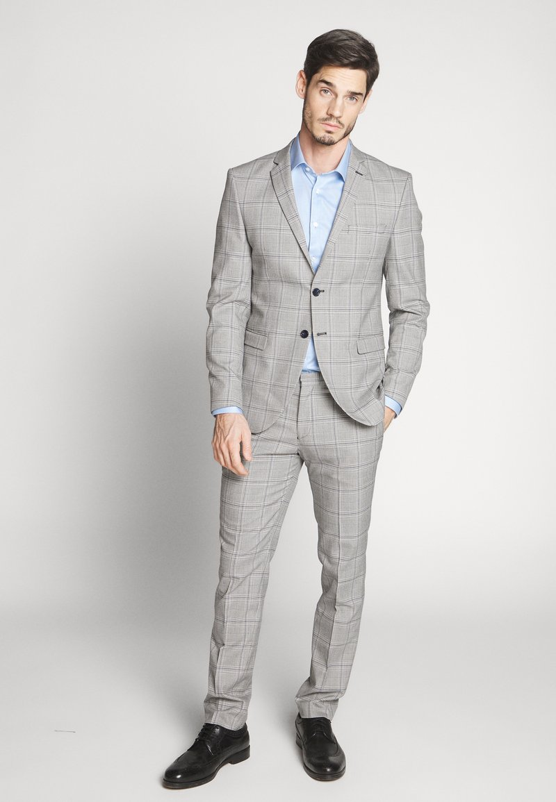 Selected Homme - SLHSLIM EMIL CHECK SUIT - Oblek - light gray/blue