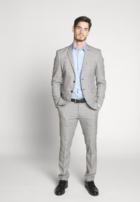 Selected Homme - SLHSLIM EMIL CHECK SUIT - Oblek - light gray/blue - 1