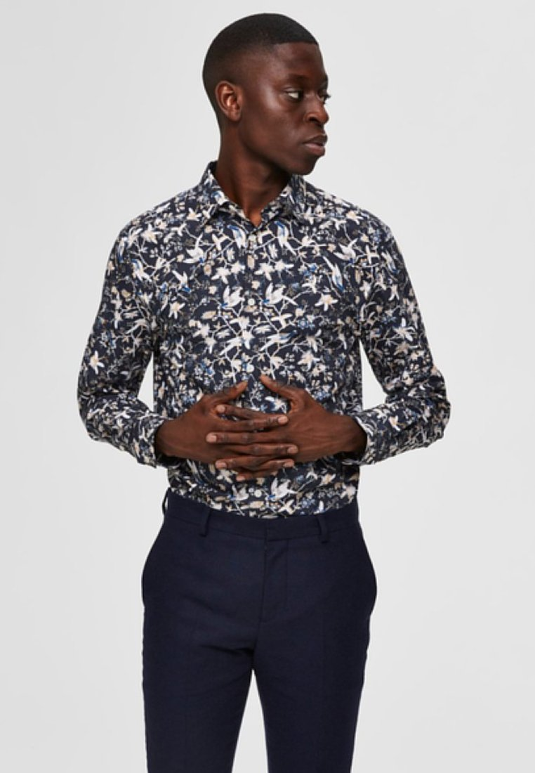 Selected Homme - BOTANIKPRINT - Hemd - maritime blue