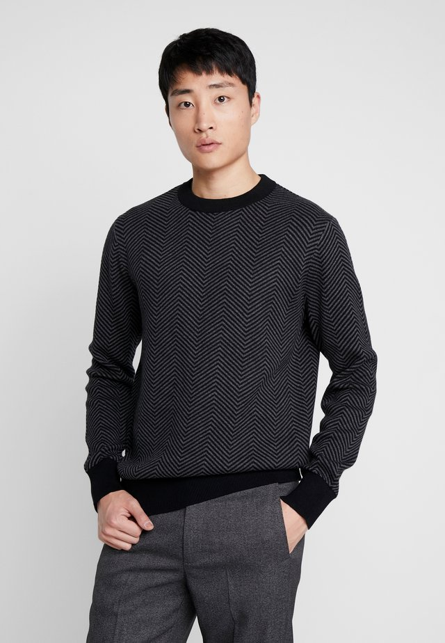 SLHHERRING CREW NECK - Jumper - black/dark grey