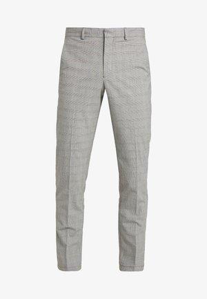 SLHSLIM MATHREP CHECK PANTS - Pantalones - white/black