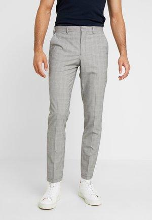 SLHSLIM MATHREP CHECK PANTS - Spodnie materiałowe - white/black