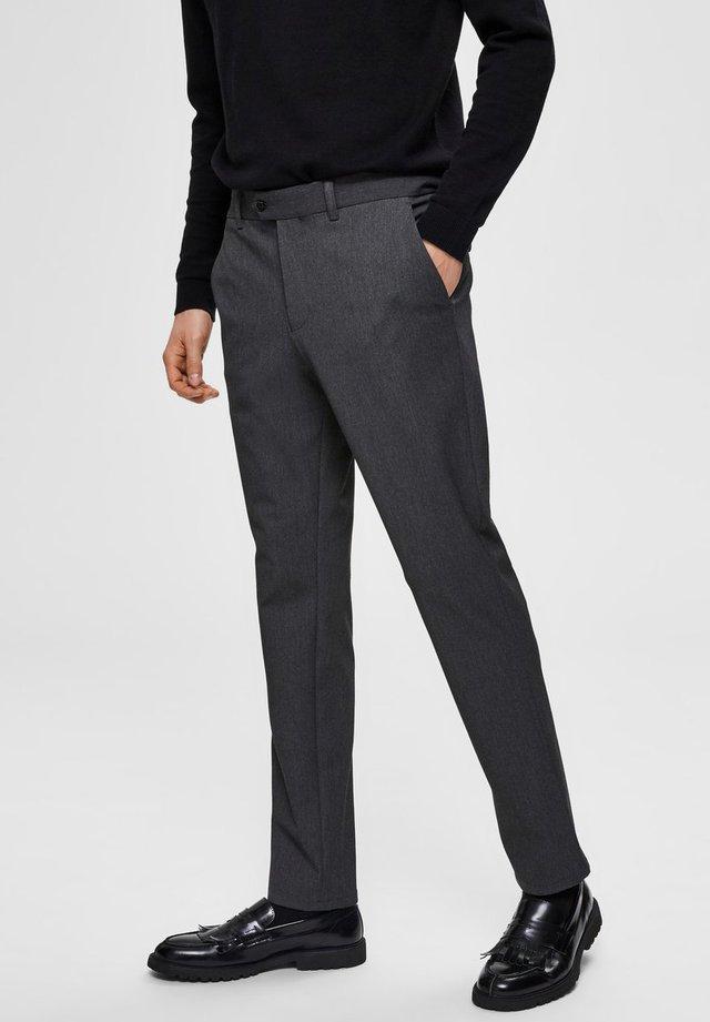 SLHSLIM-CARLO FLEX PANTS - Trousers - grey melange