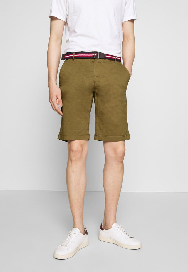 SLHSTRAIGHT PARIS BELT - Shorts - dark camel