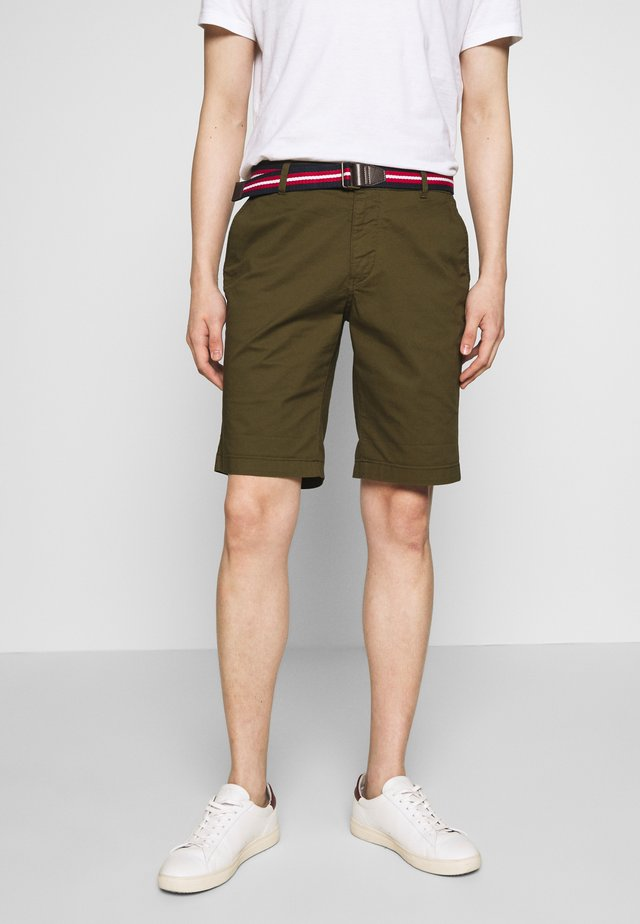 SLHSTRAIGHT PARIS BELT - Shorts - dark olive