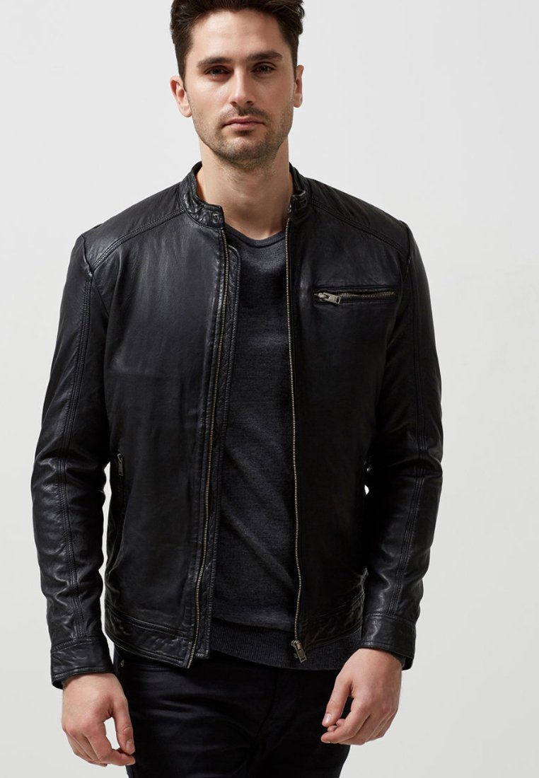 Selected Homme - Lederjacke - black