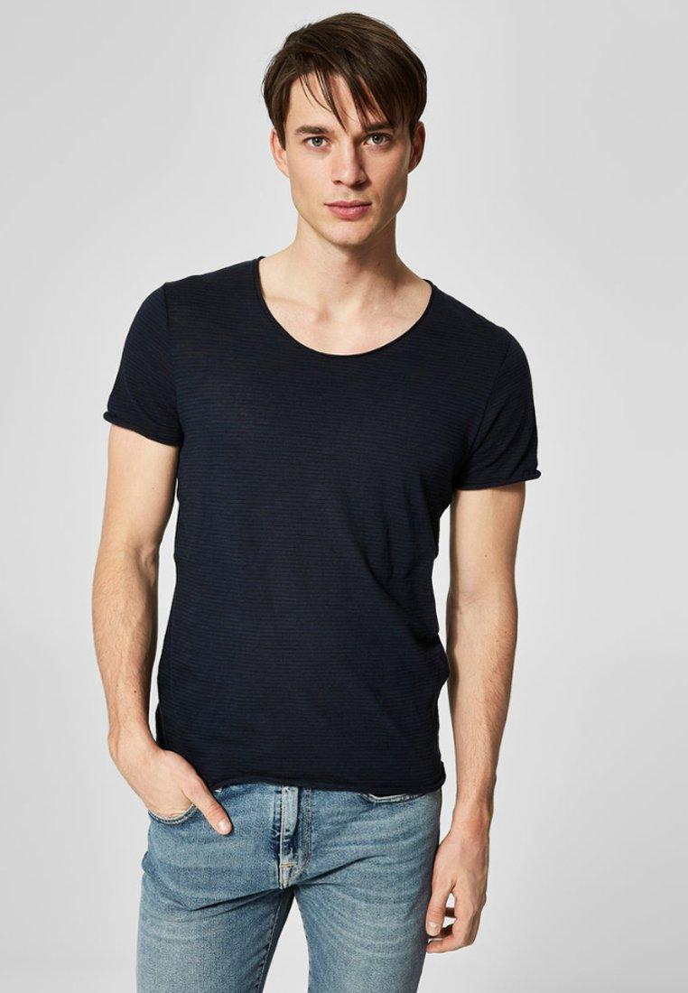 Selected Homme - T-Shirt print - dark-blue denim